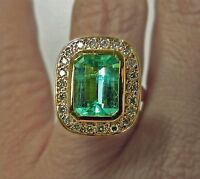 4.40 ct Fine Natural Brilliant Columbian Emerald Diamond Ring 18k Gold