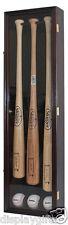 Pro UV Baseball Bat Display Case Wall Cabinet Shadow Box, Holds 3 Bats B33-MAH