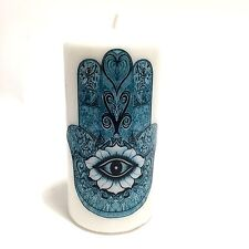 Hand Decorated Turquoise Hamsa Khamsa Hand Evil Eye Defense & Protection Candle