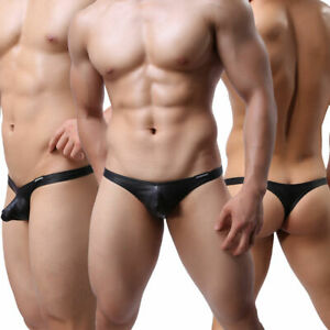 Sexy Men Underwear G-String Faux Leather Briefs Bulge Pouch T-back Thongs Panty