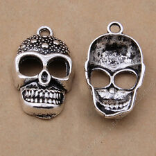 8x Charms Skull Heads Mask Pendant Beads Jewellery Crafts Tibetan Silver /S647