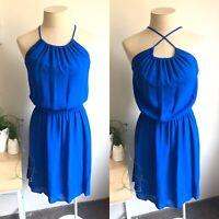 SABA 8 Dress Blue Cross Strap Convertible Elasticised Waist Short Cobalt