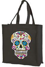Sugar Skull Cotton Shopping Bag, Choice of Colours, black, cream,