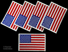 LOT OF 5 AMERICAN FLAG PATCH EMBROIDERED United States - WHITE BORDER applique