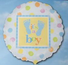 Its a Boy Blue Baby Footprints Balloon 18 inch Baby Shower Gender Reveal New