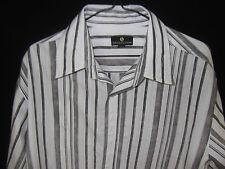 JONATHAN ADAMS Mens Casual L/S White/Brown striped Shirt Size L