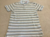 Levi Strauss Striped Polo Shirt Size Medium Genuine White Grey Blue Authentic