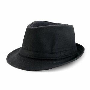 Men's Women's Classic Thick Short Brim Manhattan Gangster Trilby Cap Fedora Hat