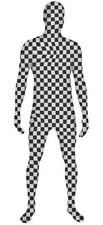 Black & White Checkered Skin Full Body Zentai Suit Fancy Dress Costume All Sizes
