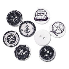 """Lot of 10 WHITE NAUTICAL 2-hole Wooden Buttons 5/8"""" 15mm Scrapbook Craft (5696)"""