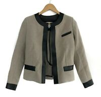 Authentic Women's IRO Clem Designer Wool Leather Jacket Beige Black Size 38