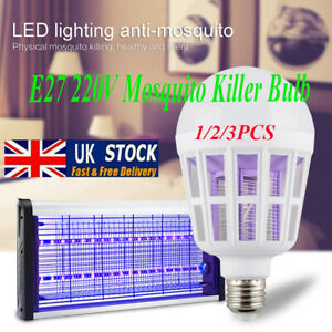 1-3pc E27 Light Zapper LED Lightbulb Bug Mosquito Fly Insect Killer Bulb Lamp UK