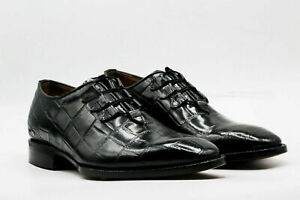 Men Handmade Shoes Black Calf Leather Crocodile Print Lace-Up Formal Wear Boots