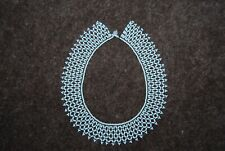 Vintage White & Green Glass Beaded Collar Necklace