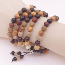 Multi-Color Cedarwood Cypress 8mm Round Wood Buddhism Prayer 110 Beads Bracelet