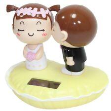 Solar Powered Kissing Bride & Groom Yellow Base Wedding Lover's Gift Home Decor