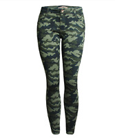 Women's Camo Army Green Skinny Jeans Camouflage Cropped Plus Size Pencil Pants