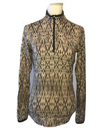 Snow Angel Ikat Brown Black 1/4 Zip Pullover Long Sleeve Jacket Size Small