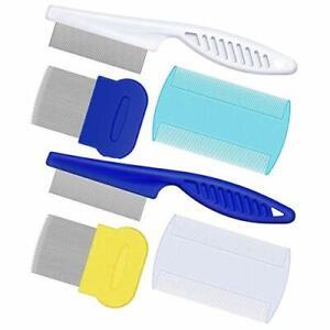 Aosea Lot de 6 peignes anti-puces à dents fines pour chats et chiens - kit de to