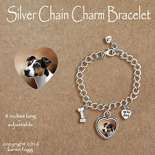 Jack Russell Terrier Dog Smooth Tri Color - Charm Bracelet Silver Chain & Heart