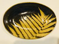 "Kaleidoscope Pottery Light Fern Leafware Small Oval Plate Platter 7 1/2"""
