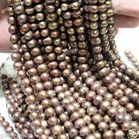 """Wholesale AAA++ Natural Real Chocolate Freshwater Pearl Rondelle Loose Beads 15"""""""