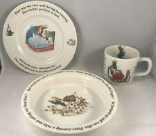 Peter Rabbit Nursery Set by Wedgwood Baby Dish-Mug-Plate Beatrix Potter 3pc