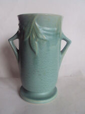 "Vintage Original Roseville Green Velmoss II Vase - 7 1/4"" Tall. Beautiful!"