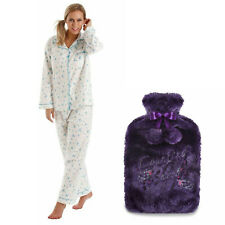 18-20 Lady Olga Winceyette Cotton Pyjamas Blue + FREE  Hot Water Bottle