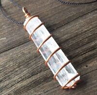Natrolite Crystal Necklace Hand Wrapped in Copper! Synergy 12 Natrolite Pendant