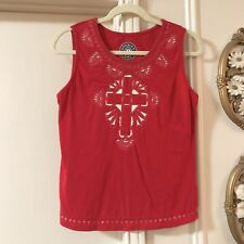 Double D Ranch Tank Top Size Small S Cross Sleeveless Shirt Red Western Women's