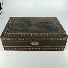 Antique chinese box old hand carved painted wood Collection China Early 20th