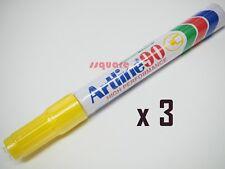 3 x Artline 90 EK-90 Quick Drying Permanent Marker Chisel Tip 2.0-5.0mm, Yellow