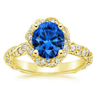 14K Yellow Gold Rings 2.10 Ct Round Real Blue Sapphire Diamond Engagement Ring