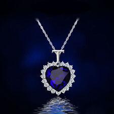 Fashion Women Charm Blue Crystal Heart Rhinestone Pendant Necklace Jewelry ELS