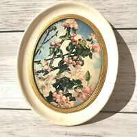 Floral oval Plaque. Plaster cast wall hanging. Flowers. 1950s kitsch art. Madryn