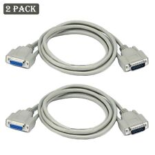 2x 6ft DB15 15 Pin Male to Female Extension Cable Cord Molded Computer M/F Beige