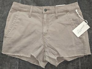 Universal Thread Khaki High Rise Shortie Jean Shorts Comfort Stretch Size 8 NWT