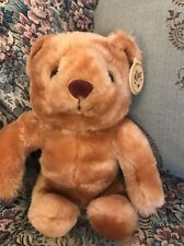 "VINTAGE 9"" Sitting Light Brown TAN Russ Berrie PLUSH Bear Made in Korea 5576 #C7"