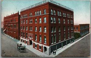 Vintage 1914 PARIS, Texas Postcard NORTH TEXAS DRY GOODS CO. Street View Tuck's