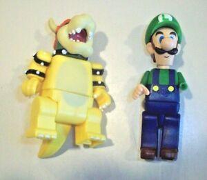 "K'Nex Nintendo Super Mario Brothers 2"" Figures ~ Luigi & Bowser - Missing Parts"