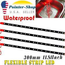 "4pcs 12"" Red Flexible LED Strip Car Motor Boat Truck Decor Light Waterproof 12V"