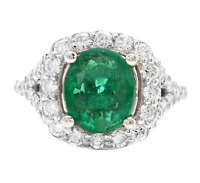 4.65Ct Natural Emerald & Diamond 14K Solid White Gold Ring