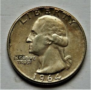 1964 UNC WASHINTON QUARTER 90% SILVER FROM BROKEN UP COLLECTION TONING