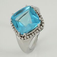 Ring in 375/- Weißgold mit 1 Blautopas 12,0 ct - NEU Gr. 56