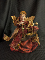 Vintage Victorian Angel Christmas Tree Topper with Red Dress, Gold Wings and Hal