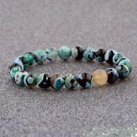 Multi Colour Beaded Cuff Charm Bangle 8MM Fashion Natural Stone Lucky Bracelets