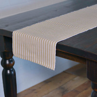 """HARMONY TAUPE Ribbed Table Runner Farmhouse Stripe White VHC Brands 13""""x 72"""""""