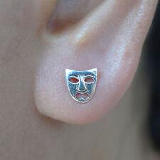 Pair 925 Sterling Silver Drama Face Mask Stud Earrings Ear Studs Fine Jewellery