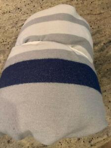Pottery Barn Kids Bright Stripe Throw Blanket Gray Blue Full/Queen NEW